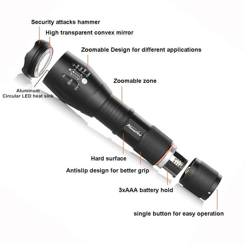 강력한 g700 손전등 크리어 xml t6 l2 led 알루미늄 방수 줌 캠핑 토치 전술 조명 aaa 18650 충전식 배터리
