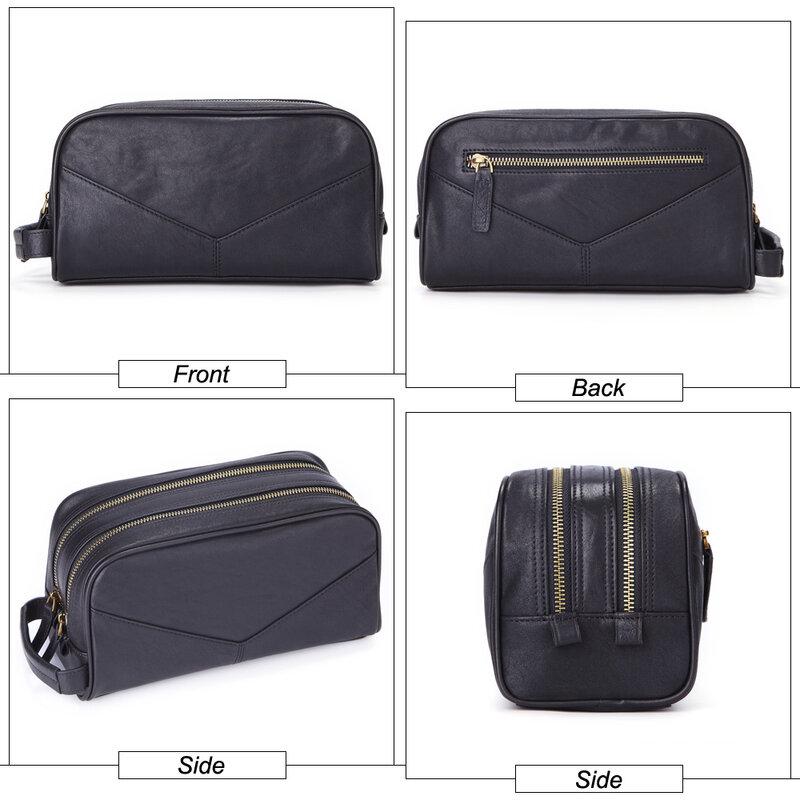 Misfits 남자 화장품 가방 정품 가죽 패션 메이크업 가방 여행 세면 용품 케이스 손으로 개최 남성 주최자에 대한 워시 가방을 확인하십시오