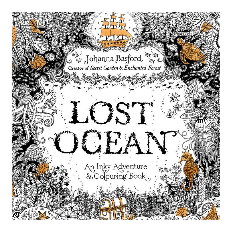 كتاب تلوين المحيط المفقود للأطفال والكبار ، كتاب مضاد للإجهاد للرسم في الحديقة ، 24 صفحة