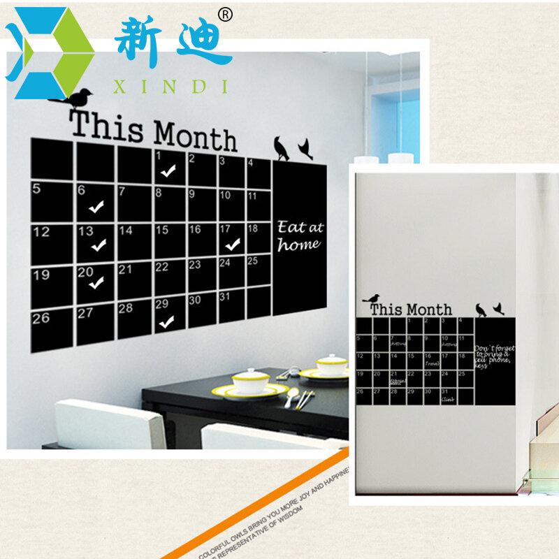 De la pared pegatinas de calendario pizarra para oficina de pizarrón extraíble mes Plan Memo negro mensaje Junta envío gratis