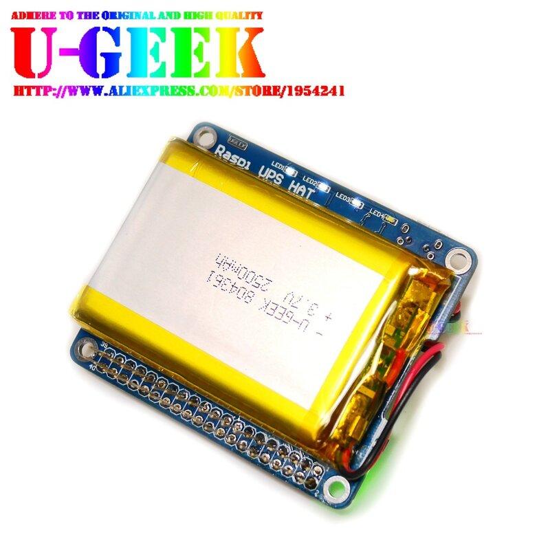 980ek-قبعة UPS مع بطارية لـ Raspberry Pi 3 موديل B/3B/3A/2B/4B ، محول بطارية Pi ، مصدر الطاقة ، الشحن بينما يعمل Pi