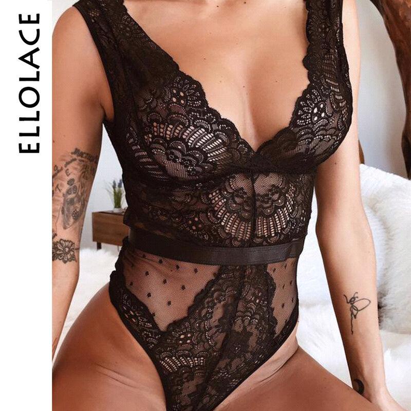 Ellolace-Body sexy de encaje floral para mujer, enterizo con bordado de cuello de pico profundo, mono con retales de punto femenino, tallas S-L, modelo 2019