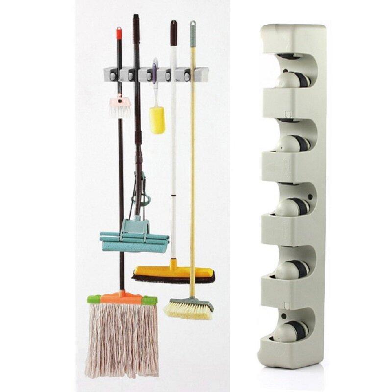 منظم مطبخ 3/4/5 موقف رف معلق على الحائط تخزين حامل ل ممسحة فرشاة مكنسة المماسح شماعات ABS منظم منزلي