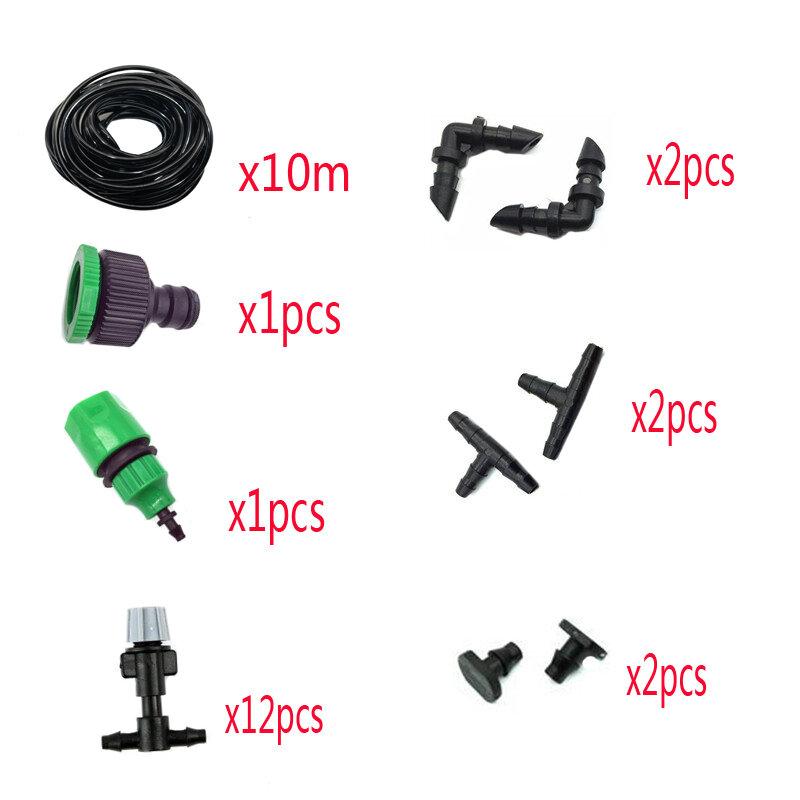 1 세트 안개 노즐 관개 시스템 휴대용 미스트 자동 급수 10m 정원 호스 스프레이 헤드 4/7mm 티 및 커넥터