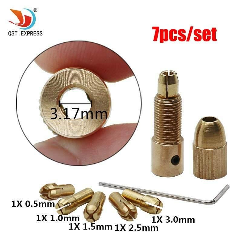 QSTEXPRESS 고품질 제일 가격 5 개/대 0.5-3mm 작은 전기 드릴 비트 콜레트 마이크로 트위스트 드릴 척 세트
