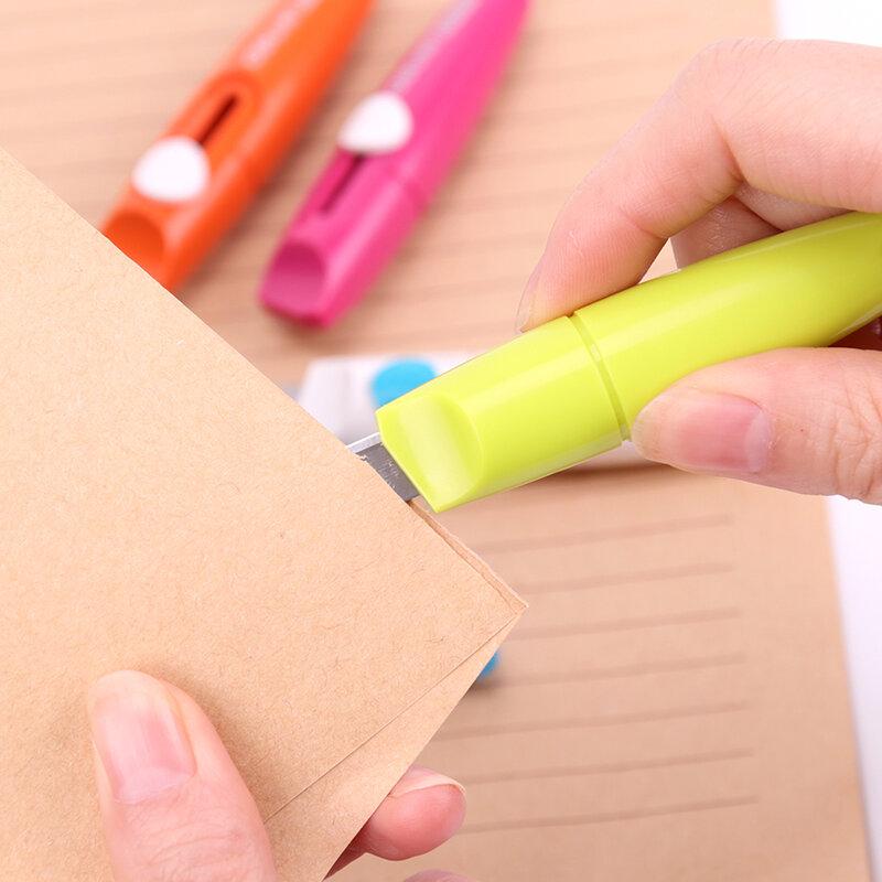 Cuchillo portátil de moda para oficina, suministros de sastrería, útil, de papelería, cortador de papel de acero inoxidable, cuchilla para ARTE DE 5 colores, 1 ud.