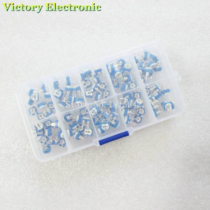 100 قطعة/صندوق RM065 الكربون السينمائي أفقي Trimpot الجهد تشكيلة كيت 10 القيم المقاوم المتغير 500R - 1M