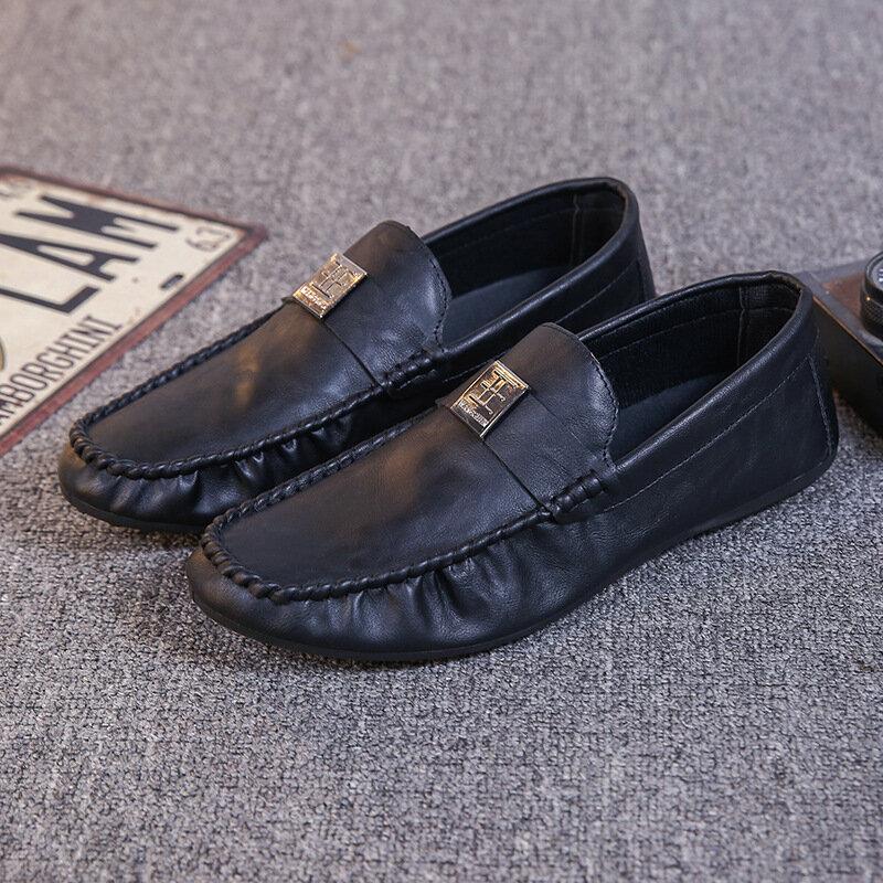 Chaussures de conduite en cuir pu pour hommes, baskets en bateau plates faites à la main