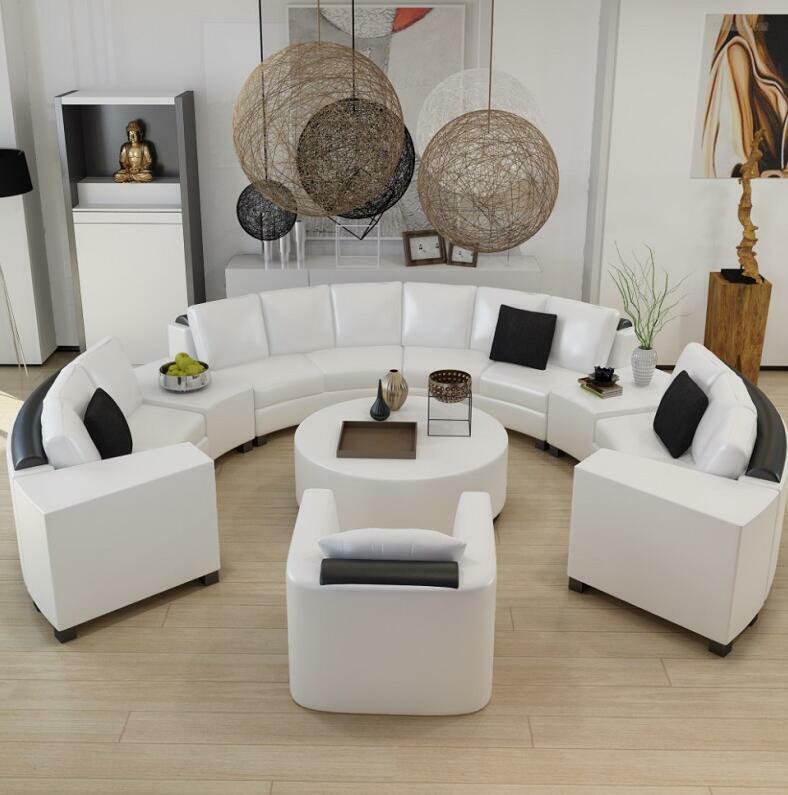 Sofá redondo de cuero de grano superior, personalizado, creativo, a la moda, para sala de estar, combinación de sofá moderno de cuero curvo, para sala de estar