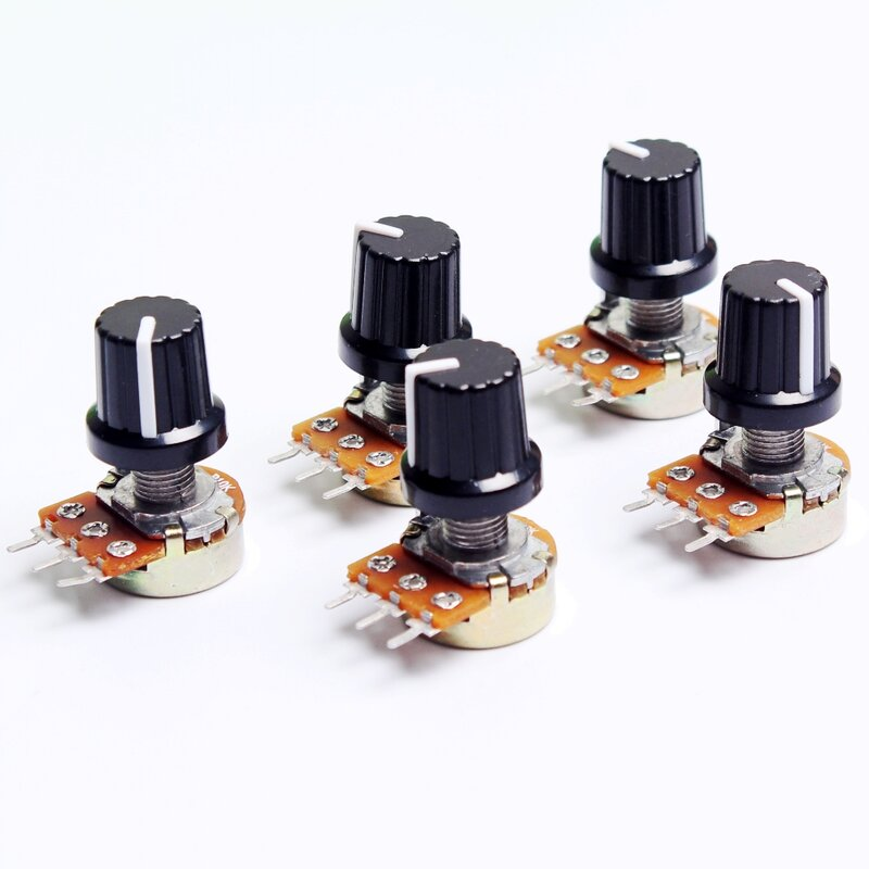 Uds 10K 1K 100K 5K 50K OHM 3 Terminal conicidad lineal potenciómetro giratorio B10K 103 para Arduino