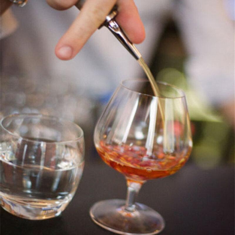 2Pcsสแตนเลสสตีลไวน์น้ำมันมะกอกPourer Dispenser Spoutแก้วขวดPourer HQสีดำ