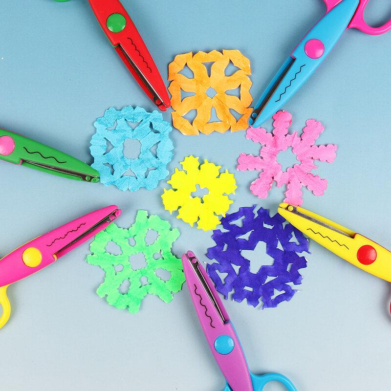 Ciseaux de dentelle en métal et plastique, 6 pièces, ciseaux de dentelle, bricolage de couleurs de Photo, Scrapbooking, décoration de journal intime en papier avec 6 motifs