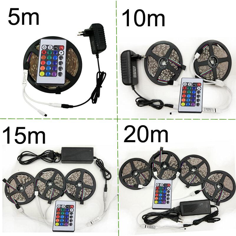 Striscia LED RGB 3528 SMD2835 striscia LED flessibile nastro impermeabile diodo nastro 5M 10M 15M 20M RGB DC12V strisce Controller Kti