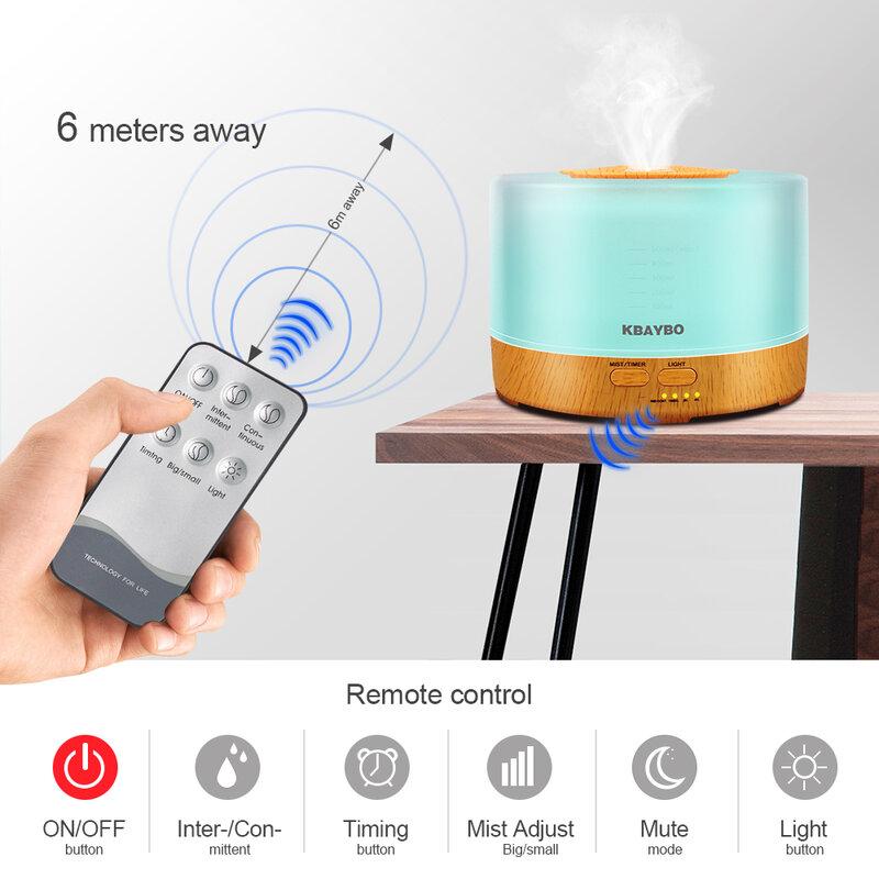 KBAYBO difusor de aceite esencial 500 ml Aroma control remoto niebla humidificador ultrasónico 4 Ajustes del temporizador LED aromaterapia