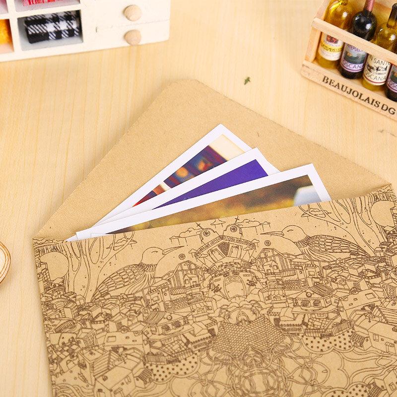 10 pz/lotto vintage kraft buste cartoline biglietto di auguri copertina marrone kraft buste cancelleria zakka materiale scolastico