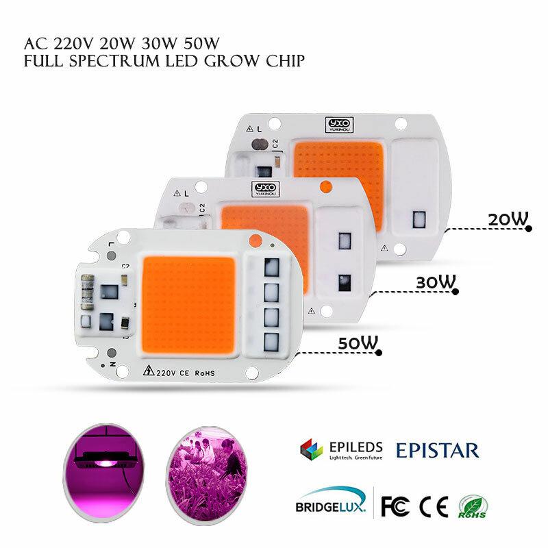 1 قطعة Hydroponice AC 220V 20w 30w 50w الصمام تنمو رقاقة الطيف الكامل 380nm-840nm للداخلية بقيادة تنمو ضوء