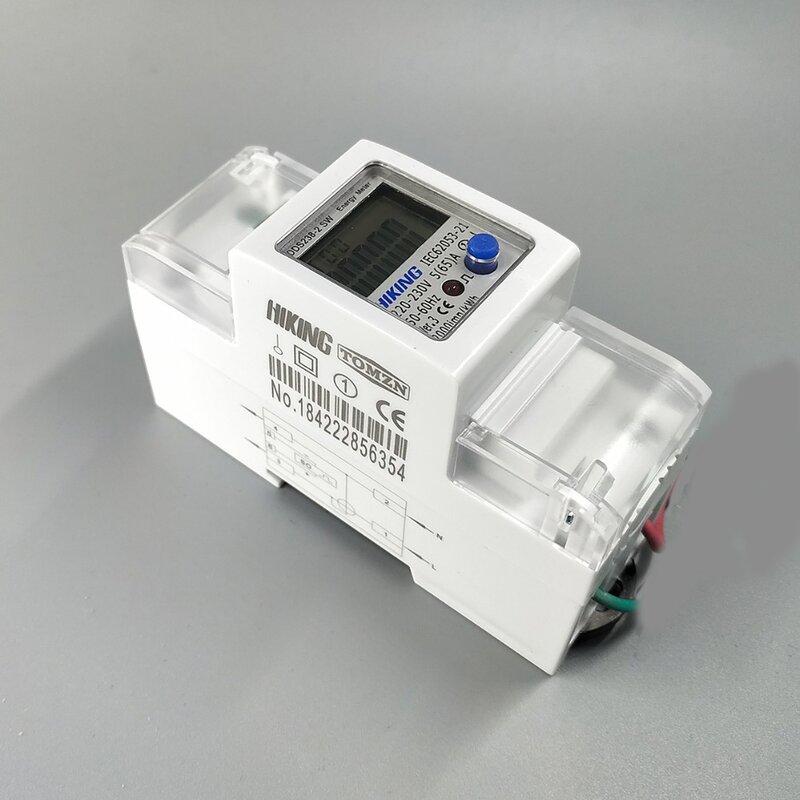 65A 100A 230V 50Hz 60Hzแรงดันไฟฟ้าบวกย้อนกลับActive Reactive Single Phase Din Rail KWHวัตต์ชั่วโมงEnergy Meter