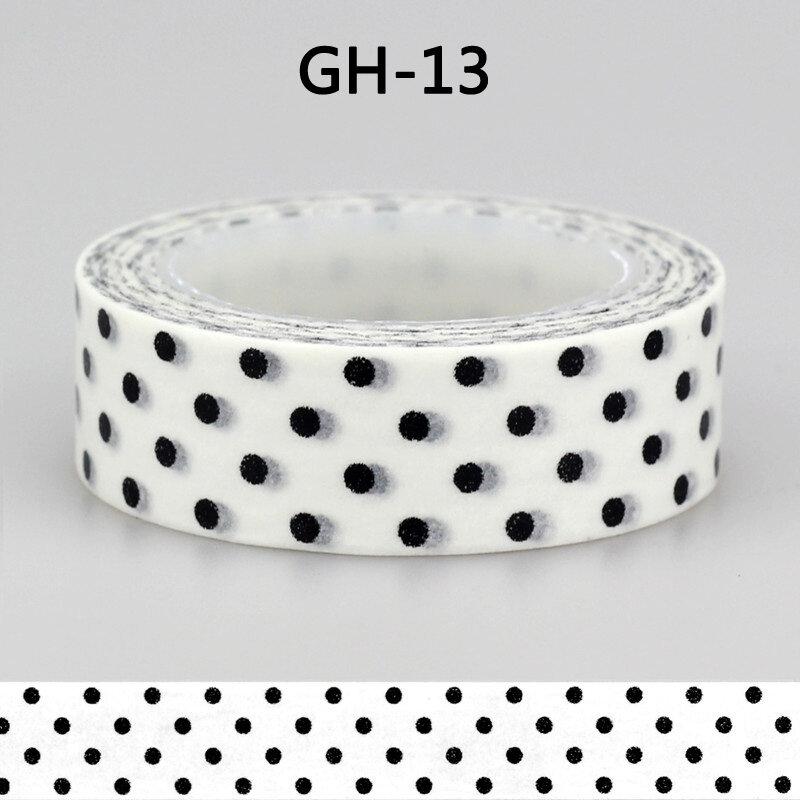 1x15mm cinta negro blanco set Dot, flor, Star Print Scrapbooking DIY Sticker decorativo Masking japonés Washi Tape papel Lot 10m