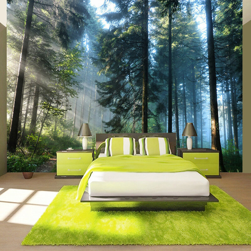 Realistic forest bedroom wall murals