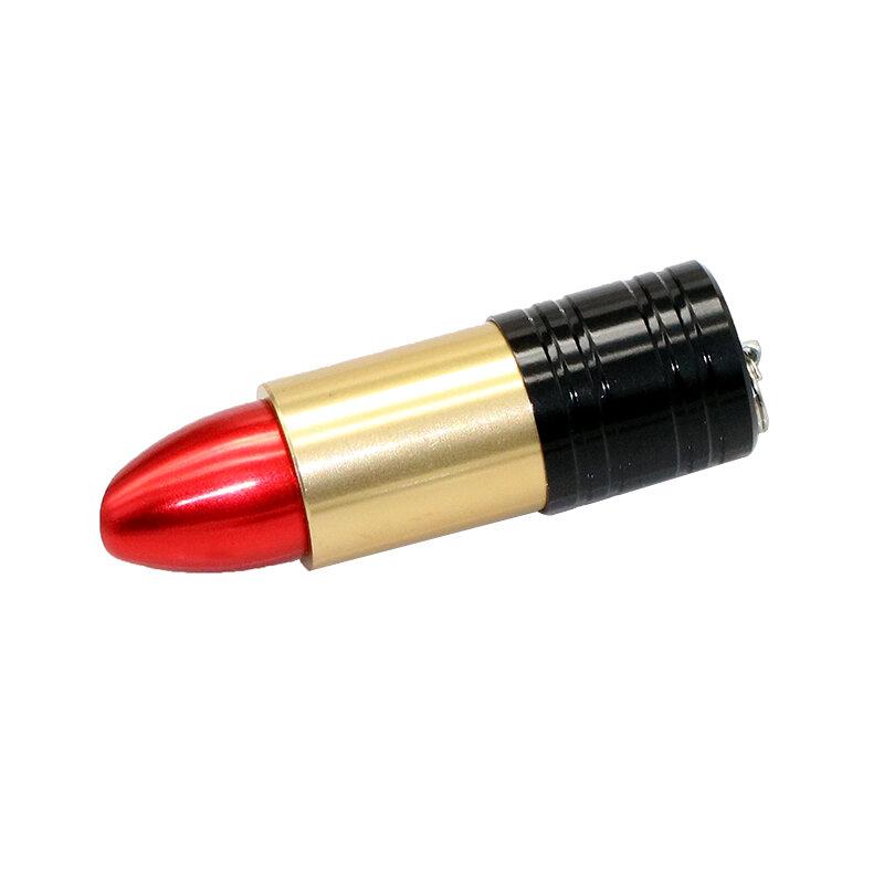 قلم محرك جميل معدن أحمر الشفاه محرك فلاش USB 256GB 64GB 32GB 16GB 8GB USB 2.0 ذاكرة فلاش عصا 128GB بندريف لسيدة