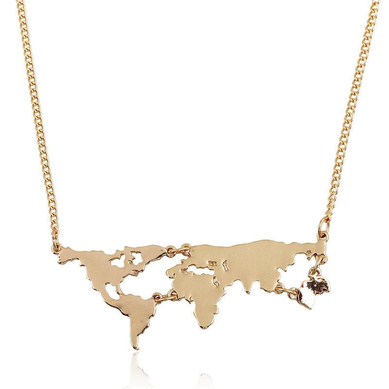 قلادة ذهبية مع خريطة العالم للنساء ، قلادة شخصية جديدة ، مجوهرات راقية