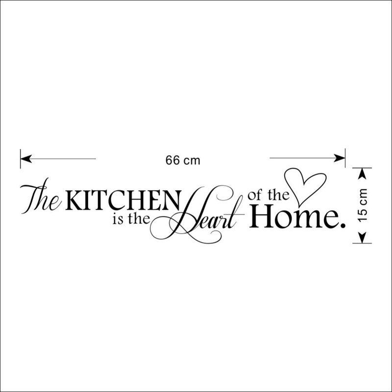 Neue Küche ist Herz der Home Brief Muster Wand Aufkleber PVC Abnehmbare Home Decor DIY wand kunst WANDBILD