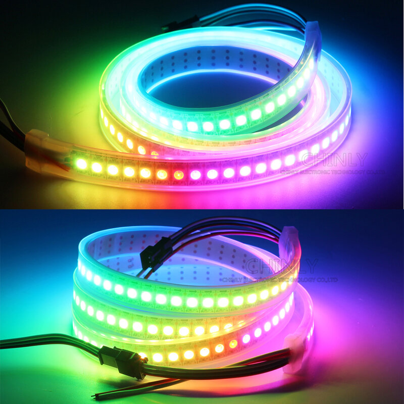 WS2812B HA CONDOTTO La Striscia Indirizzabili Individualmente RGB Intelligente Pixel Strip1m/4 m/5 m Nero/Bianco PCB WS2812 IC Impermeabile 5V 30/60/144 leds