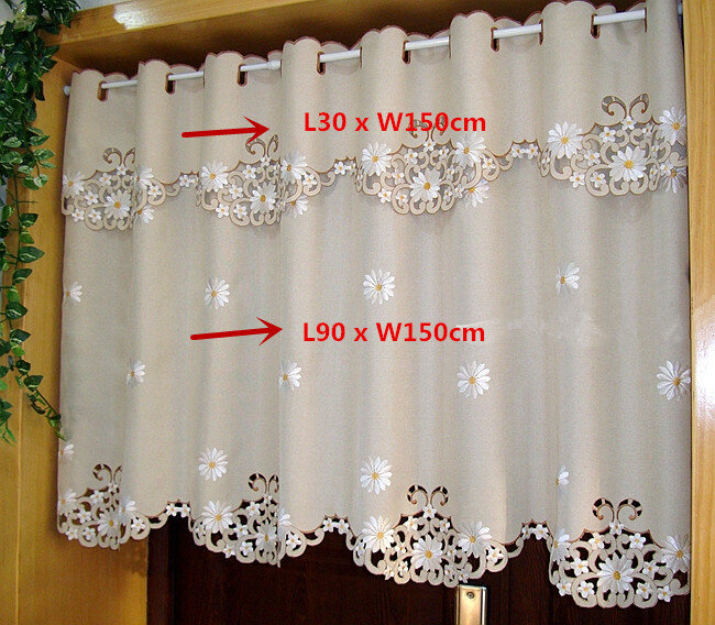 Britischen Half-vorhang Bestickt Fenster Valance Anpassen Lichtabschattungsplatte Vorhang für Küche Schranktür A-43