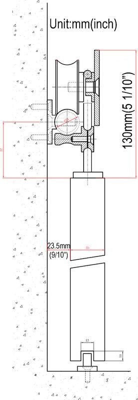 DIYHD 5FT-8FT in acciaio inox scorrevole barn door hardware di montaggio superiore ruota a raggi interni in legno porta di rotolamento della pista