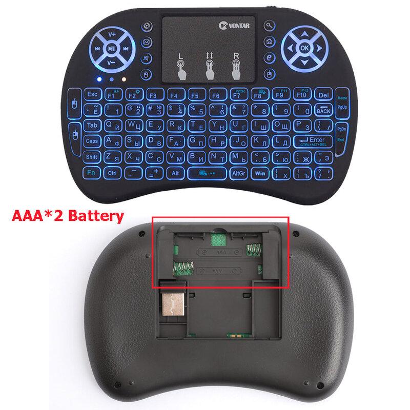 VONTAR I8 7สีBacklitคีย์บอร์ดไร้สาย2.4G Air MouseภาษาอังกฤษรัสเซียTouchpad HandheldสำหรับAndroid TVกล่องT9 h96 Max Plus