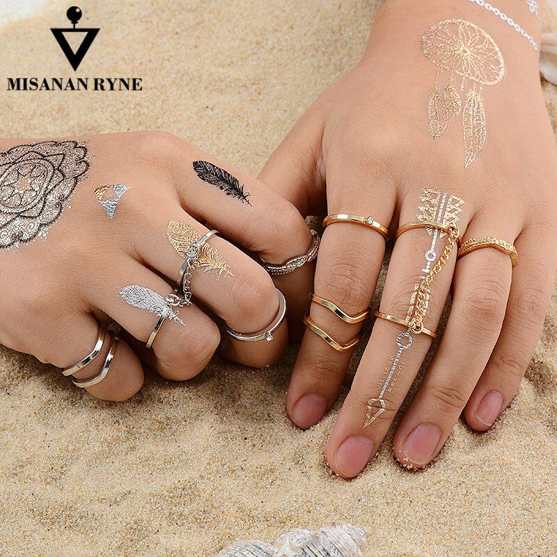MISANANRYNE 6 teile/los Modeschmuck Einstellbare Gold-farbe Stapeln midi Finger Knuckle Öffnen ringe Sets für frauen Schmuck Geschenk