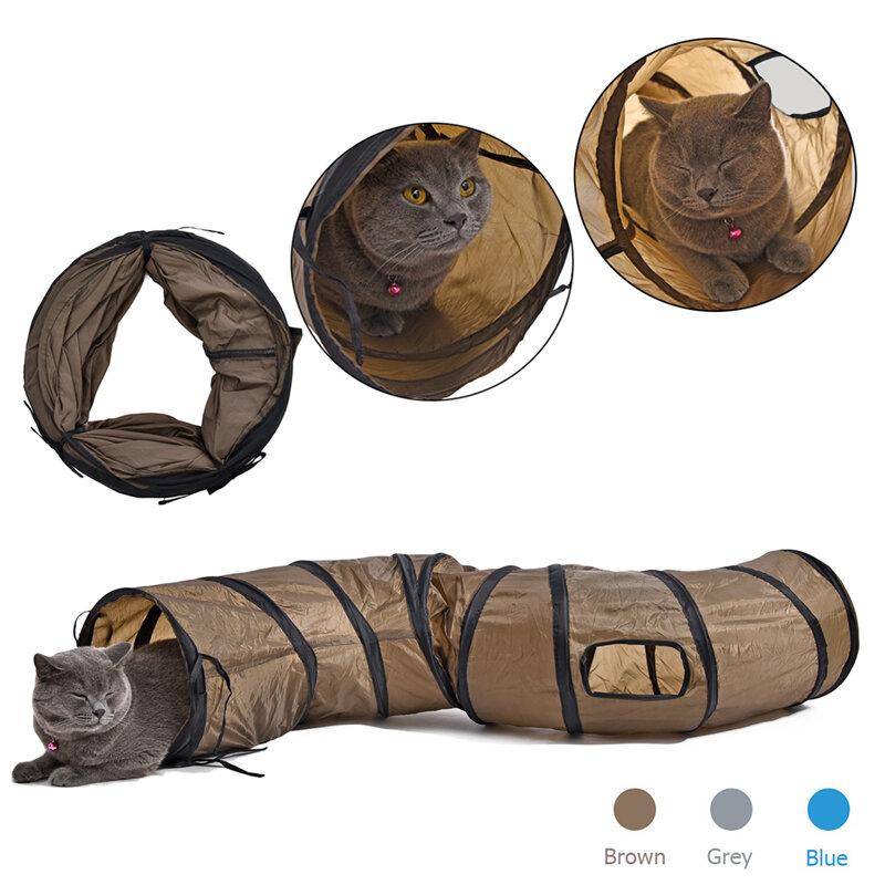 """""""S"""" Divertente Pet Cat Gioca Tunnel Marrone/Blu/Grigio Pieghevole 1 Finestra Attivo Tunnel del Gattino del Gatto che gioca Giocattolo del Gatto di Massa Del Coniglio Animale Giocattoli"""