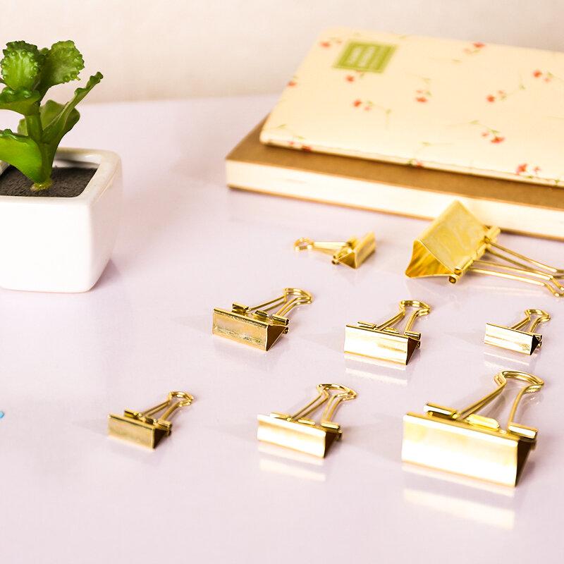 Clips dorados de Color sólido, Clips de carpeta metálicos, notas, letras, papel, suministros de oficina, 3 unids/lote