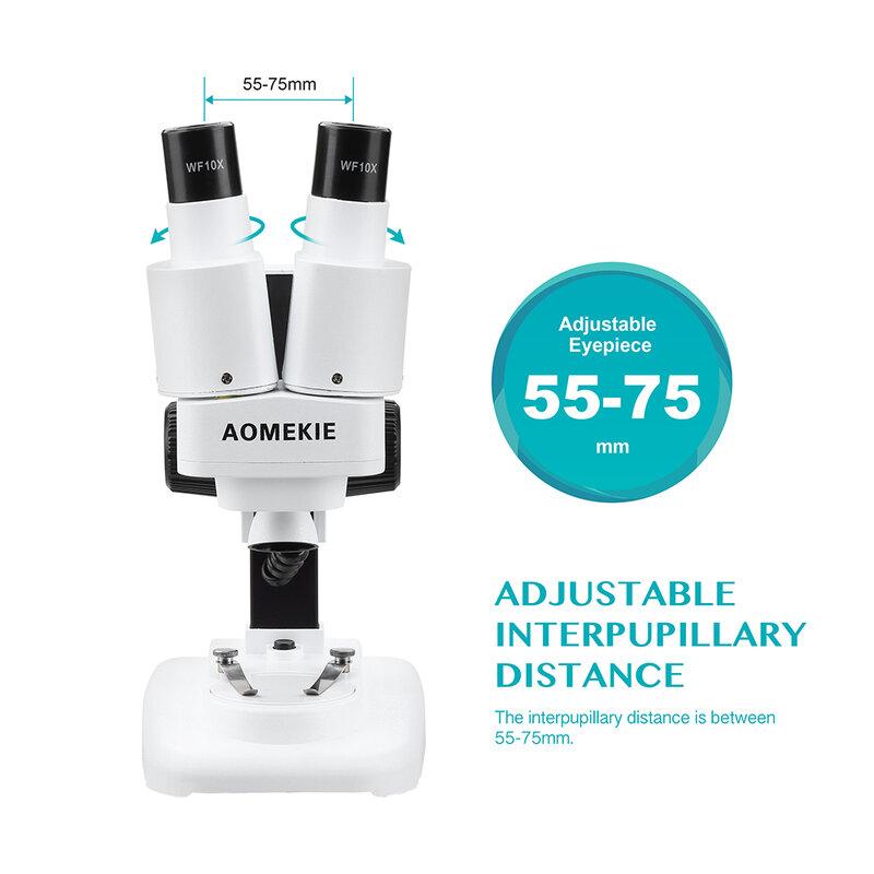 AOMEKIE 20X Stereo Microscopio Binoculare Microscopio con LED per PCB Saldatura Strumento di Riparazione Del Telefono Mobile Presentazioni Aziende Produttrici Giochi Minerale Guardare Microscopio