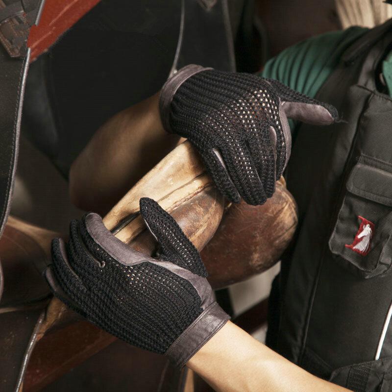 قفازات ركوب الخيل الجبلية الاحترافية ، حماية اليد لركوب الخيل ، جلد ناعم ، للأطفال والنساء