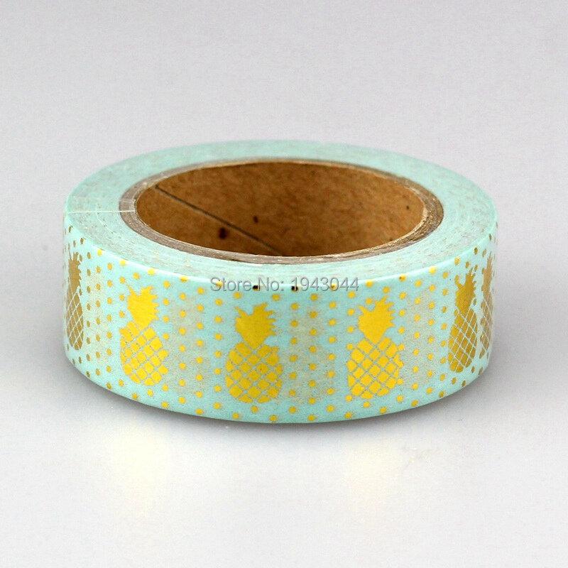 1X Formato 15mm * 10 m Kawaii Strisce Strumenti di Scrapbooking FAI DA TE, oro Rosa Blu Ananas & Dots Giapponese Foglio di Carta Washi Nastri di Mascheratura