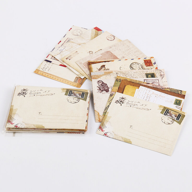 Sobres de papel Vintage estilo antiguo, paquete de carta de regalo, suministros de oficina y escuela, Mini sobres de tarjeta de papel, unids/set 12/Set