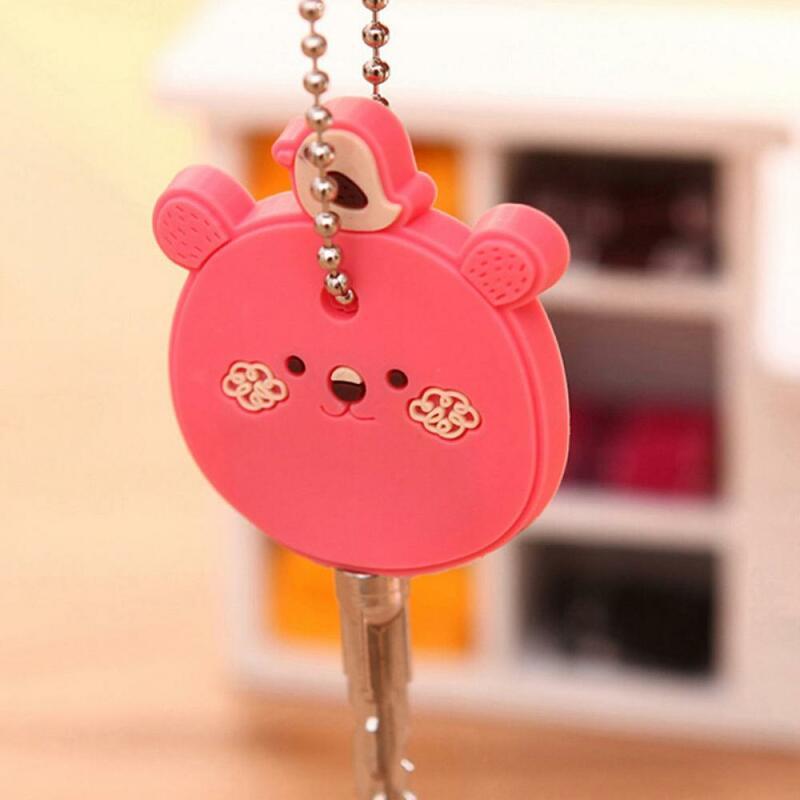 만화 귀여운 실리콘 보호 키 케이스 커버 키 컨트롤 더스트 커버 홀더 정리 지갑 홈 액세서리 용품