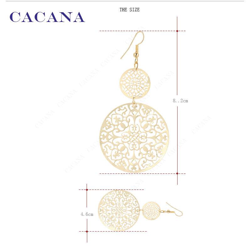 CACANA-أقراط طويلة للنساء ، نمط كلاسيكي ، مجوف ، دائري ، عرض خاص