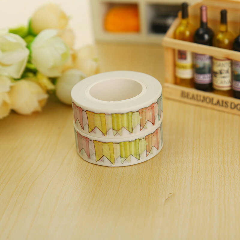 1,5 cm * 10m Farbe Flagge washi klebeband DIY dekoration scrapbooking planer masking tape klebeband kawaii schreibwaren