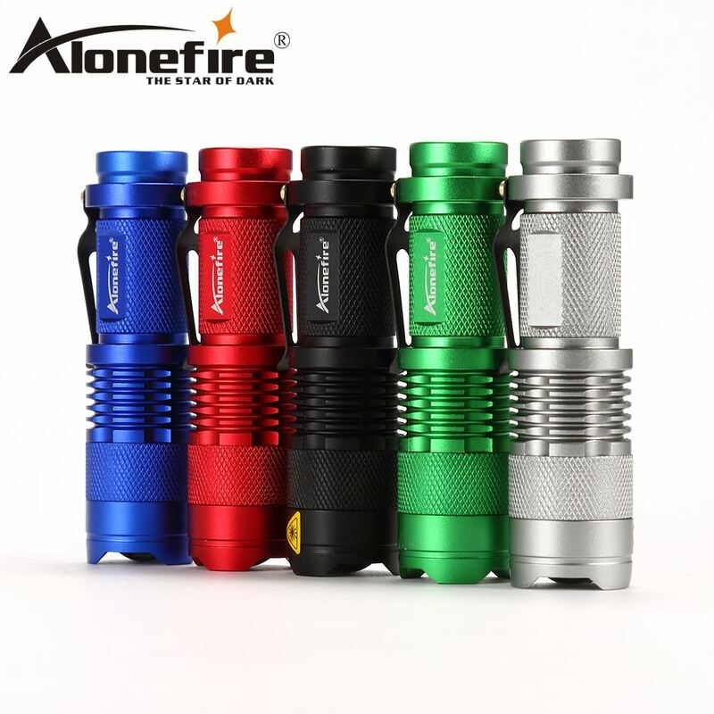 Aleefire-Mini linterna LED SK68 CREE XPE Q5, Luz Portátil con zoom CREE Q5, lámpara de iluminación para AA o 14500