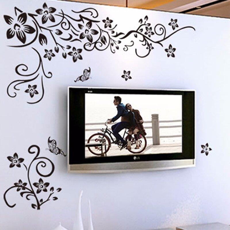 Caliente DIY arte de la pared decoración Etiqueta de moda romántico Pared de flores/etiqueta engomada pegatinas de pared decoración para el hogar 3D papel envío gratuito