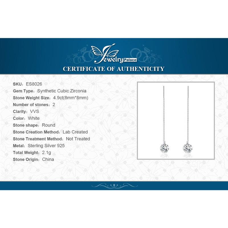 JewelryPalace 925 Sterling Silver Cubic Zirconia CZ ต่างหู Long Drop สำหรับผู้หญิงต่างหูเกาหลี2021ต่างหูแฟชั่นเครื่องประดับ