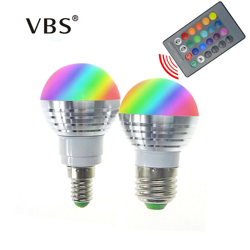 Bombilla LED RGB E14 E27, foco de 3W, 85-265V, iluminación mágica RGB para vacaciones, 16 colores con Control remoto IR