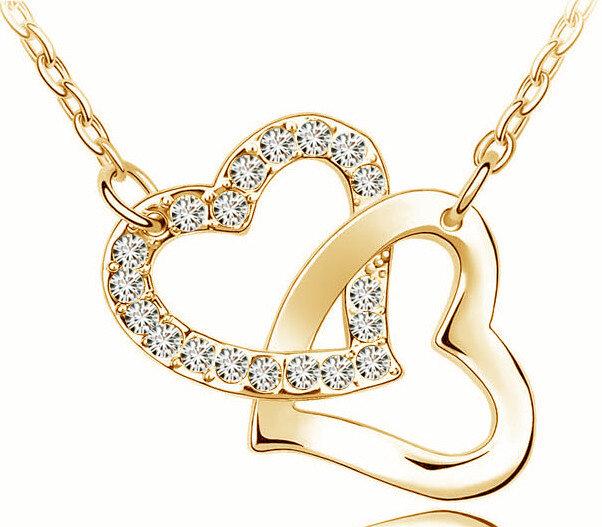 قلادة مع قلادة قلب مزدوج وحجر الراين ، جودة عالية ، هدية رومانسية ، مثالية لحفل الزفاف