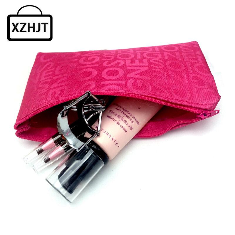 Bolsa de cosméticos portátil para mujer, neceser de viaje con cremallera y letras, estuche de maquillaje, organizador de aseo, soporte de lavado