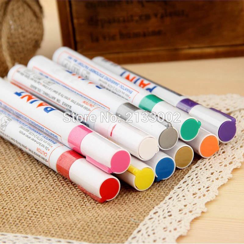 قلم تحديد مقاوم للماء للإطارات ، مطاط ومعدن دائم ، 12 لونًا