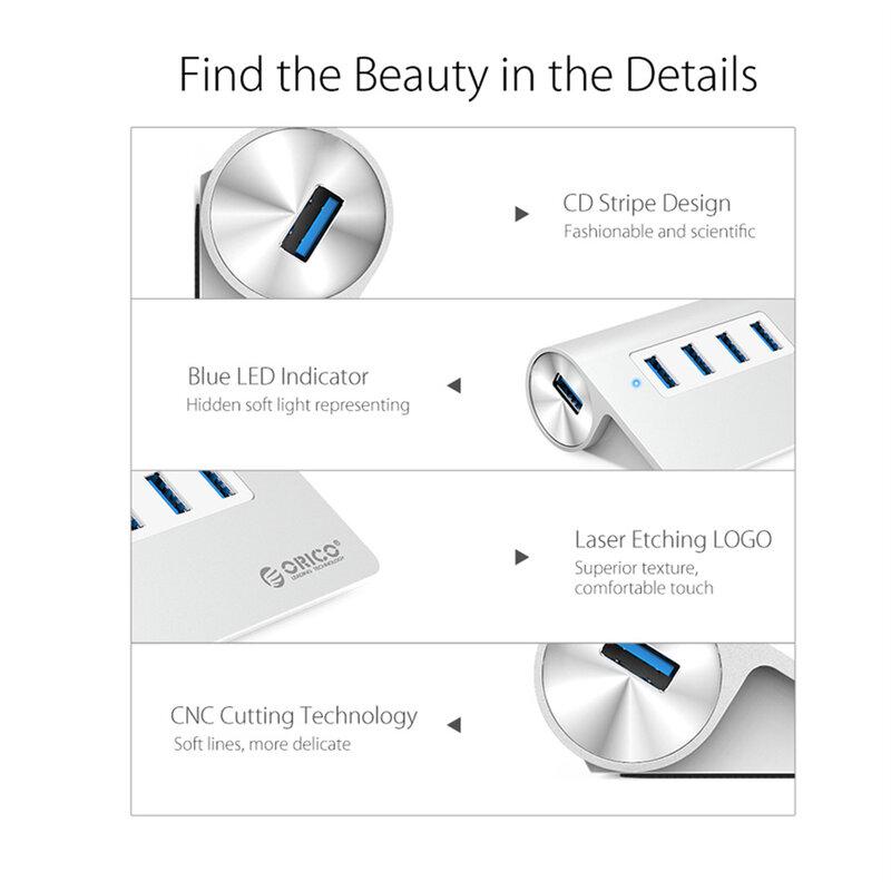 ORICO-موزع USB 3.0 صغير عالي الجودة ، ألومنيوم ، 4 منافذ ، مع كابل بيانات (M3H4)
