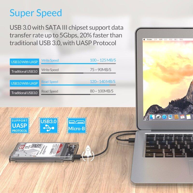 ORICO 2139U3 القرص الصلب الضميمة 2.5 بوصة شفافة USB3.0 القرص الصلب الضميمة دعم بروتوكول UASP ل 7-9.5 مللي متر HDD