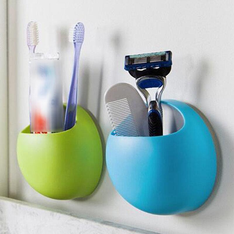 Nette Zahnbürste Halter Saug Haken Tassen Veranstalter Bad Zubehör Zahn Pinsel Halter Cup Wall Mount Set Bad Saugnapf